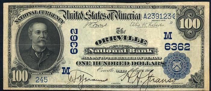Orrville National Bank, Orrville National Currency dollar bill