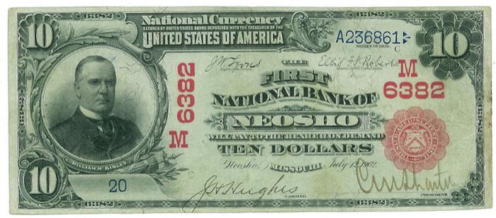 First National Bank of Neosho (6382) Ten Dollar Bill Series 1902 Red Seal