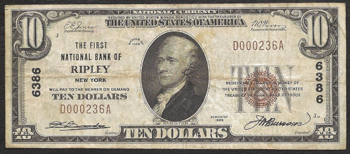First National Bank of Ripley National Currency dollar bill