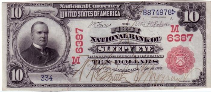 First National Bank of Sleepy Eye Lake National Currency dollar bill