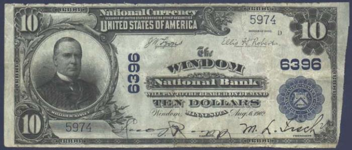 Windom National Bank, Windom National Currency dollar bill