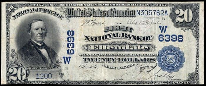 First National Bank, Ellendale National Currency dollar bill