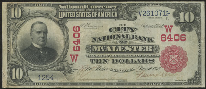 City National Bank of South McAlester National Currency dollar bill