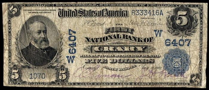 First National Bank, Crary National Currency dollar bill