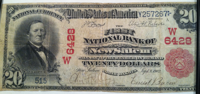 First National Bank of New Salem National Currency dollar bill