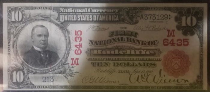 First National Bank of Radcliffe National Currency dollar bill