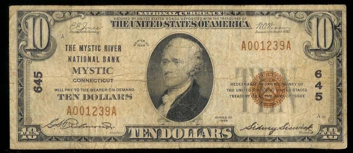 Mystic River National Bank National Currency dollar bill