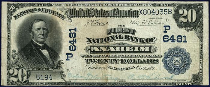 First National Bank of Anaheim (6481) Twenty Dollar Bill Series 1902 Blue Seal