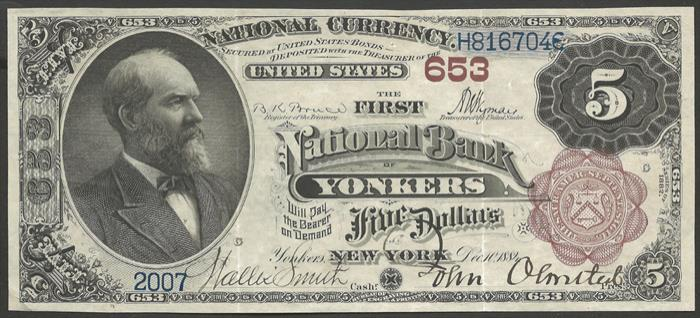 First National Bank of Yonkers (653) Five Dollar Bill Series 1882 Brownback