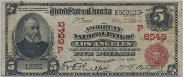 American National Bank of Los Angeles National Currency dollar bill
