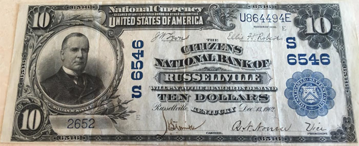 Citizens National Bank of Russellville National Currency dollar bill