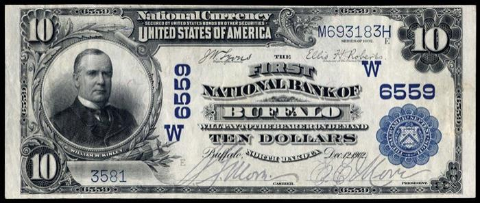 First National Bank, Buffalo National Currency dollar bill