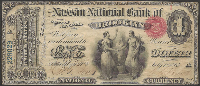 Nassau National Bank of Brooklyn National Currency dollar bill