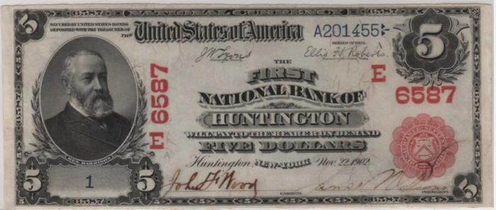 First National Bank of Huntington National Currency dollar bill
