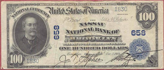 Nassau National Bank of Brooklyn (658) Hundred Dollar Bill Series 1902 Blue Seal