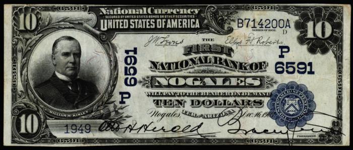 Sandoval National Bank of Nogales National Currency dollar bill