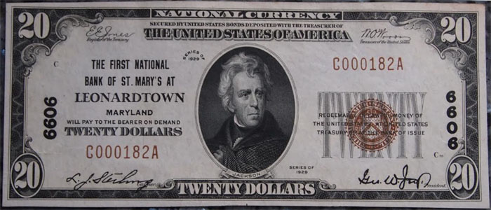 First National Bank of St. Mary's, Leonardtown National Currency dollar bill