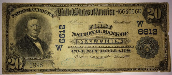 First National Bank of Walters National Currency dollar bill