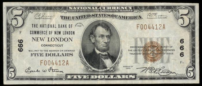 National Bank Of Commerce New London Currency Dollar Bill