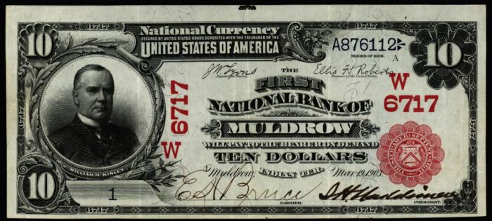First National Bank of Muldrow National Currency dollar bill