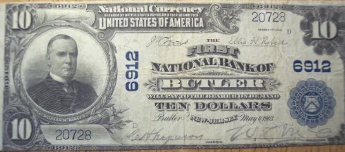 First National Bank of Butler National Currency dollar bill