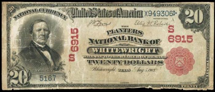 Planters National Bank of Whitewright National Currency dollar bill