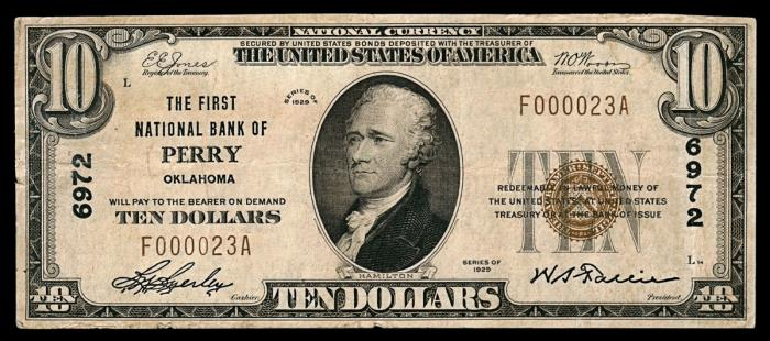 First National Bank of Perry National Currency dollar bill