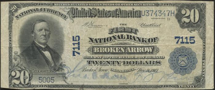First National Bank of Broken Arrow National Currency dollar bill