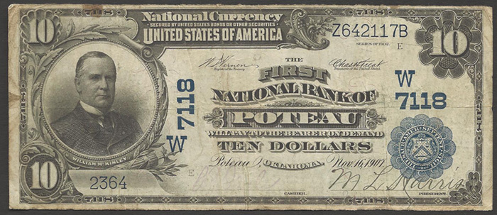 First National Bank of Poteau National Currency Bank Note Dollar Bill