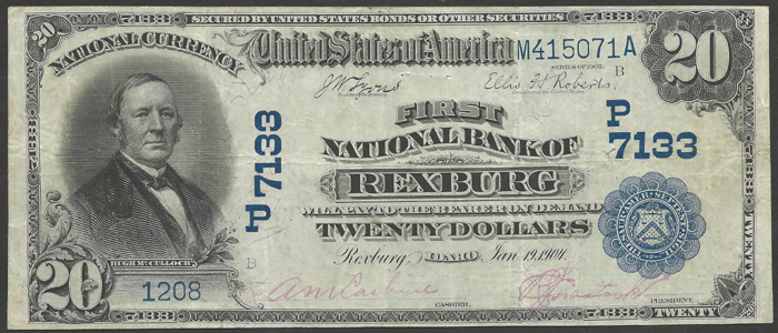 First National Bank of Rexburg National Currency dollar bill