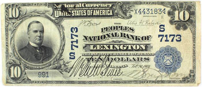 Peoples National Bank of Lexington National Currency Bank Note Dollar Bill