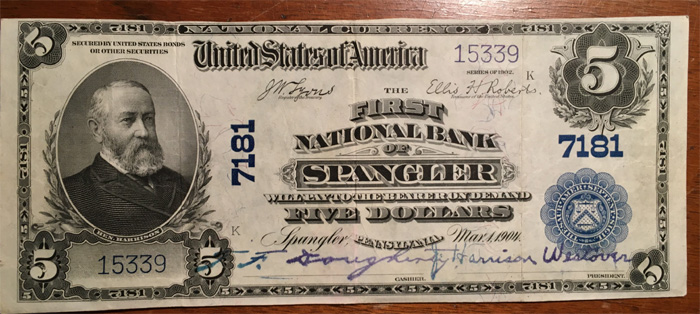 First National Bank of Spangler National Currency dollar bill