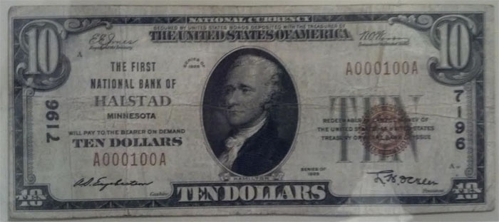 First National Bank of Halstad National Currency dollar bill