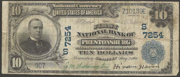 First National Bank of Prestonsburg National Currency dollar bill