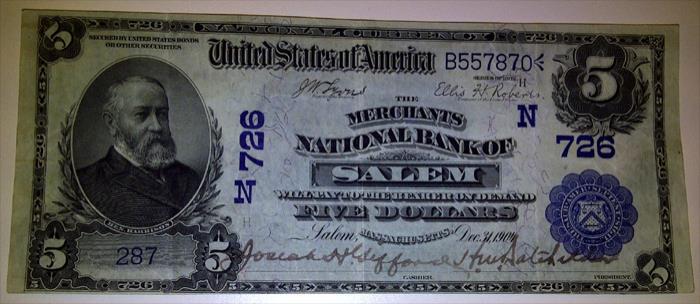 Merchants National Bank of Salem National Currency dollar bill
