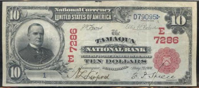 Tamaqua National Bank, Tamaqua National Currency dollar bill