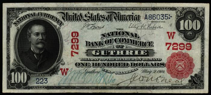 National Bank of Commerce of Guthrie National Currency dollar bill