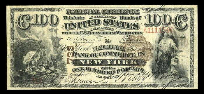 The National Bank of Commerce in New York (733) Hundred Dollar Bill Series 1882 Brownback