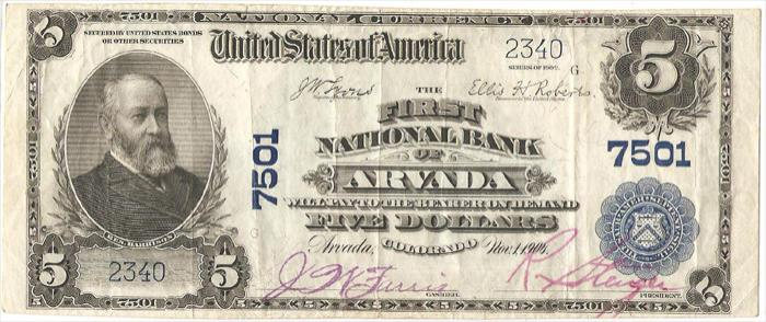 First National Bank of Arvada National Currency dollar bill