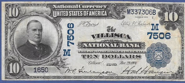 Villisca National Bank, Villisca National Currency dollar bill