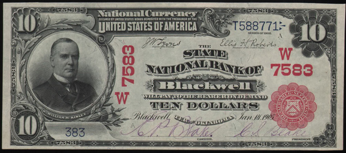 State National Bank of Blackwell National Currency dollar bill