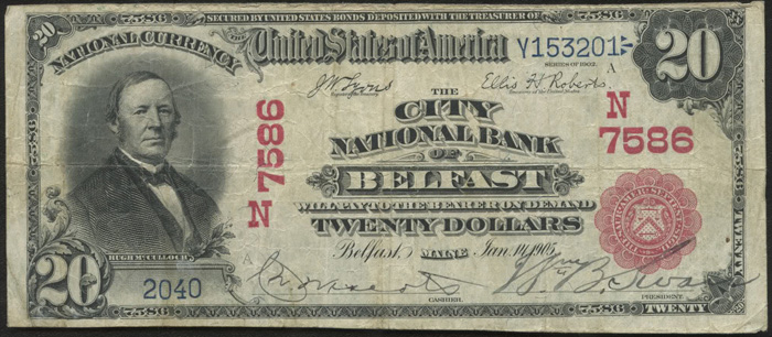 City National Bank of Belfast National Currency dollar bill