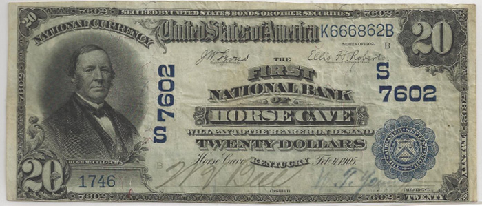 First National Bank of Horse Cave National Currency dollar bill