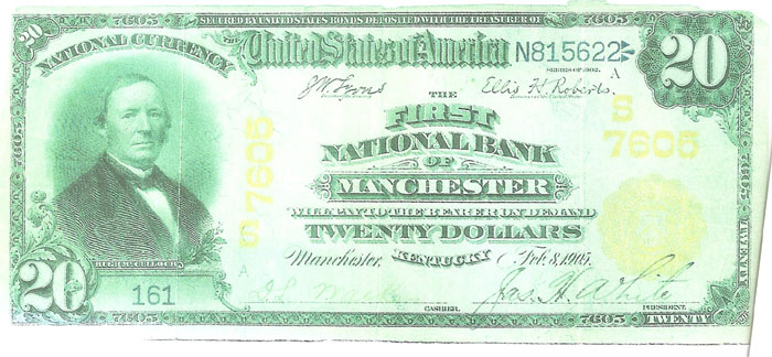 First National Bank of Manchester National Currency dollar bill