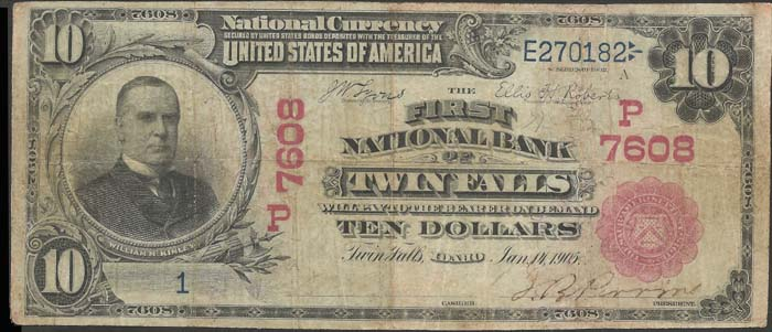 First National Bank of Twin Falls National Currency dollar bill