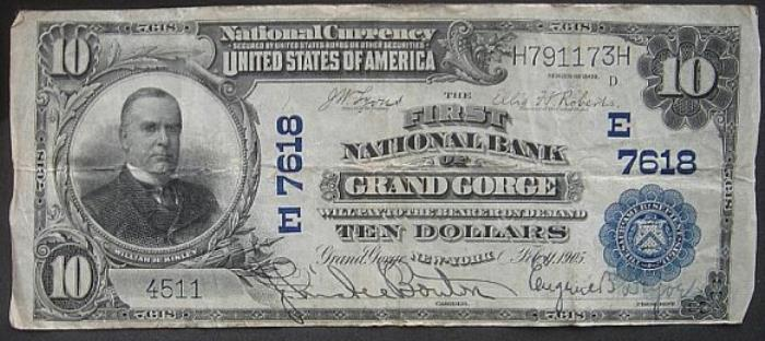 First National Bank of Grand Gorge National Currency dollar bill