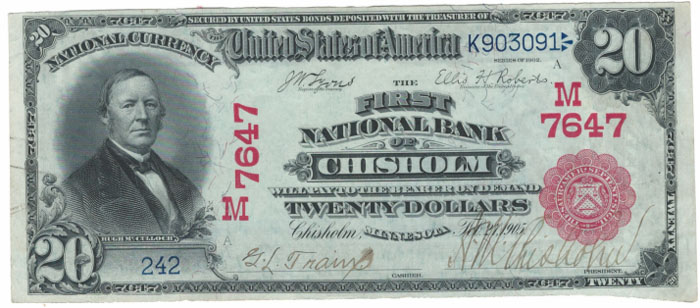 First National Bank of Chisholm National Currency dollar bill