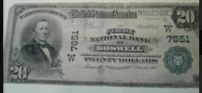 First National Bank of Boswell National Currency dollar bill