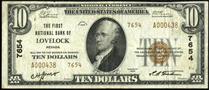 First National Bank of Lovelock National Currency dollar bill