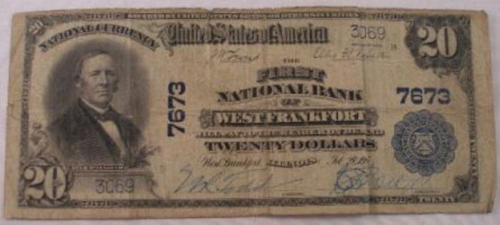 First National Bank of West Frankfort (7673) Twenty Dollar Bill Series 1902 Blue Seal